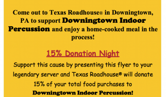 Indoor Percussion Ensemble Texas Roadhouse Fundraiser Event – 1/16/2019